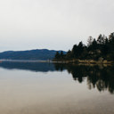 View of the water of Saanich Inlet at Coles Bay Regional Park.