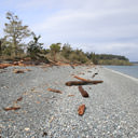 The rocky beach along the Strait of Juan de Fuca at Devonian Regional Park