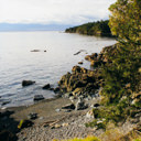 The shoreline along the Strait of Juan De Fuca can be seen from the Coast Trail in East Sooke Park.