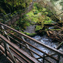 The bridge crossing Niagara Creek at the top of Niagara Falls in Goldstream Provincial Park.