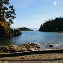 The view out towards Juan De Fuca Strait from the beach at Iron Mine Bay in East Sooke Park.