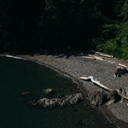 Iron Mine Bay Beach from the top of a rocky outcrop in East Sooke Park.