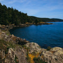 The view looking south along the shores of Juan de Fuca Strait in East Sooke Park.
