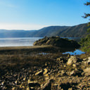 The view of the Saanich Inlet from the rocky beach area of McKenzie Bight in Gowlland Tod Provincial Park.