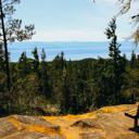 The view out towards Juan de Fuca Strait from the top of Mount Maguire in East Sooke Park.