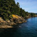 Scenic view from the Coast Trail of the shoreline along the Juan de Fuca Strait in East Sooke Park.