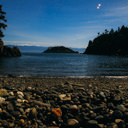 The rocky beach at Iron Mine Bay in East Sooke Park.