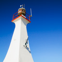 The lighthouse at the end of the Ogden Point Breakwater in Victoria, BC.