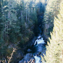 High above the Sooke River looking down into the canyon.