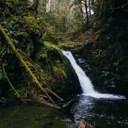 Upper Goldstream Falls is located in a canyon close to the park campsite.